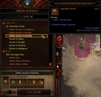 The Hellfire Amulet crafing recipe shown at the Jeweler.