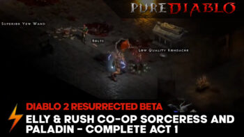 Elly and Rush co-op Diablo 2 Resurrected beta Act 1 live stream footage