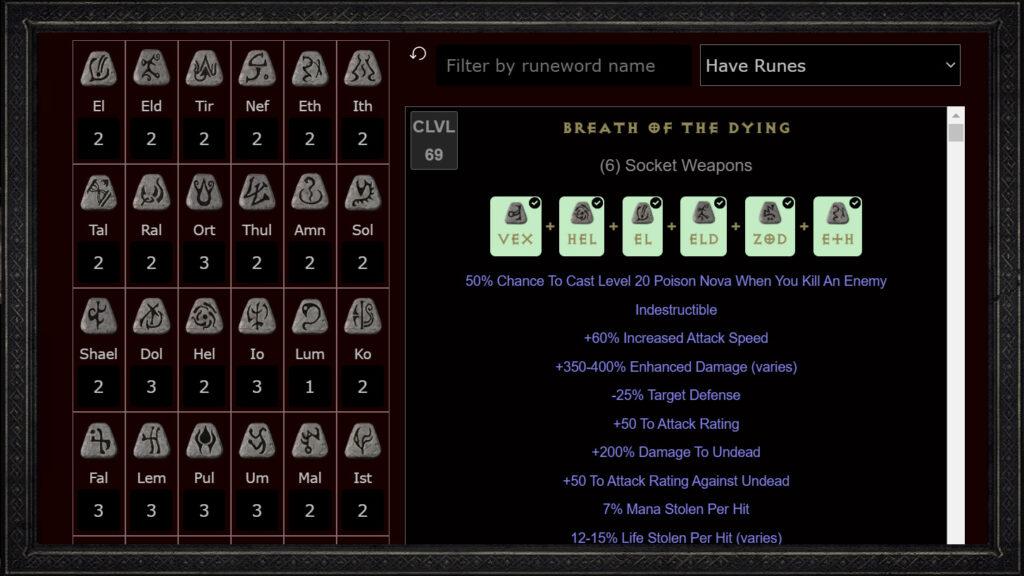 New Diablo 2 Runeword Calculator