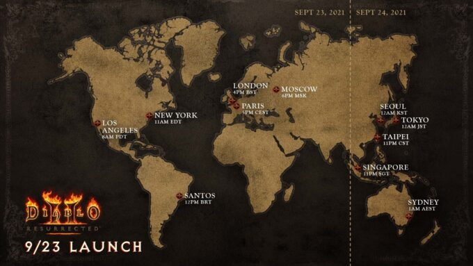Diablo 2 Resurrected Launch Times